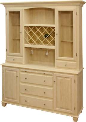 4 Door Hutch & Buffet with wine rack and holders